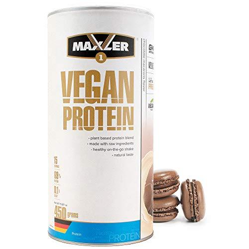Maxler Vegan Protein Pulver - Laktose & Zuckerfrei - Veganes Proteinpulver für Muskealufbau - Protein Vegan aus Erbsen, Reis, Hanf & Johannisbrot - Eiweißpulver Vegan - Schoko Macarons - 450g