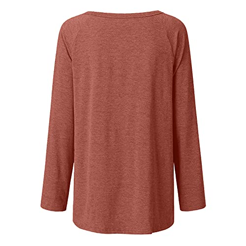 FOTBIMK Las mujeres sol impreso camiseta de manga larga cuello redondo camiseta de estilo largo Tops, marrón, S