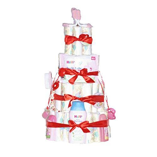 Windelpyramide groß mit Schnullerkette - Geschenk zur Geburt, Pampers-Windeln, Feuchttücher, Babypuder, Schnullerkette mit Namen