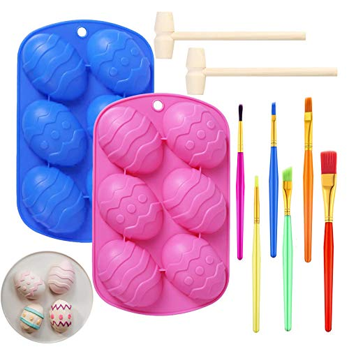 Easter Egg Silicone Cake Mold Egg Shaped Chocolate Molds with 2 Wooden Hammers and 6 Cake Brushes Easter Baking Supplies for Cake Decorating Jello, Candy, Baking Molds