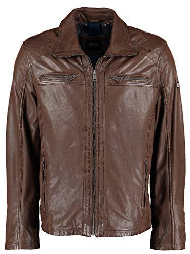 DNR Herren Lederjacke mit Taschen und Reißverschluss
