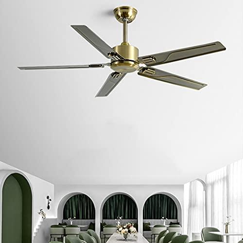 JDKC- Ventilador de Techo LED para Interiores de 52' con Mando a Distancia, Araña Moderna 5 Cuchillas, para Dormitorio, Sala de Estar, Comedor (Color : Bronze)