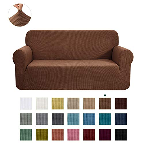 CHUN YI Stretch Oversized Sofa Slipcover 1-Piece Couch Cover Furniture Protector, 4 Seater Coat Soft with Elastic Bottom, Checks Spandex Jacquard Fabric, X-Large, Coffee