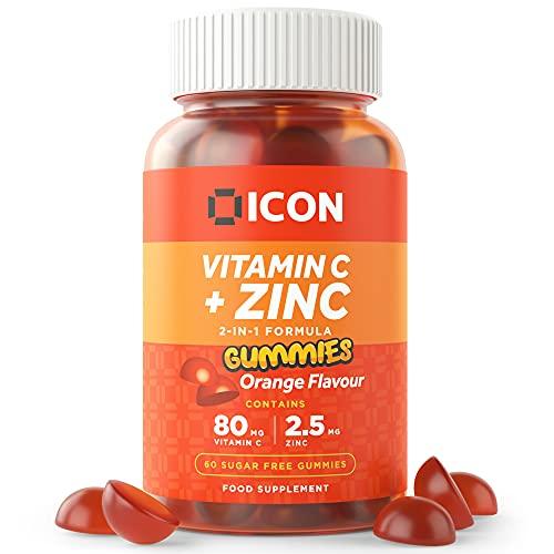 Chewable Vitamin C and Zinc Gummies, Vitamin C with Zinc Supplement   Sugar Free   Orange Flavour - 60 Gummies (2 Month Supply)