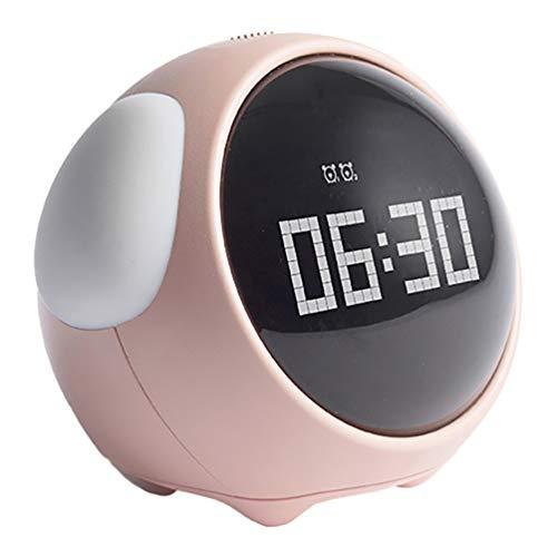 VALICLUD Digitale Uhr LED Elektrische Alarm Uhren Schöne Pixel Ausdruck Uhr Kinder Schlaf Trainer mit Nigh Licht für Home Schlafzimmer Dekor Rosa