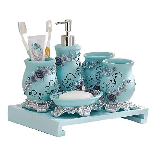 Seifendosierer für Badezimmer Küche Seifenkiste Lotion Flasche Zahnbürste Cup Tray Kombination Haushalt Badezimmer Wash Set sechsteilige Stereo Carving dekorative Seifenspender (blau) Nachfüllbarer Se