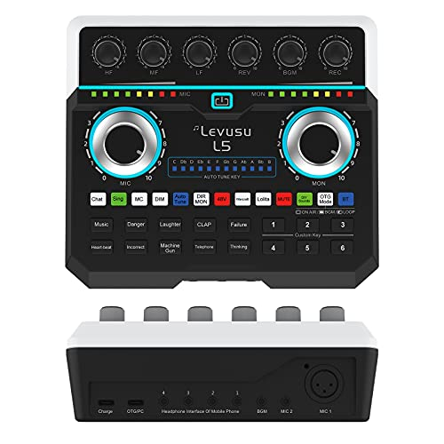 USB Digital Audio Interface with DJ Mixer and Live Sound Card, Karaoke, Auto Tune, XLR, Phantom Power, Protable Podcast Studio Equipment for Guitar, Live Streaming, PC, Recording and Gaming (L5)