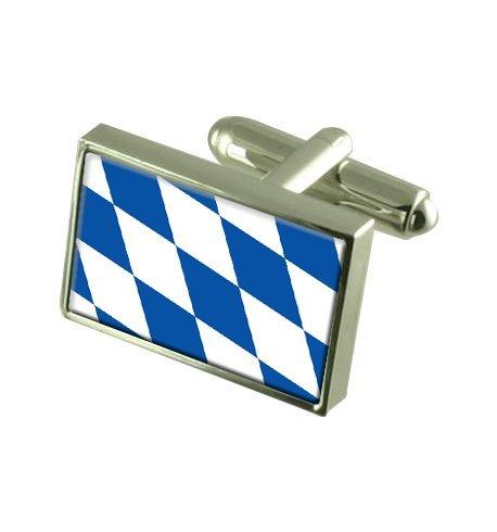 Select Gifts Freistaat Bayern Landesflagge Manschettenknöpfe. Graviert Andenken Manschettenknöpfe Fall