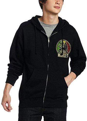 Zion Rootswear Offizielles Bob Marley – Löwe – Kapuzenpullover mit Reißverschluss Gr. XL, Schwarz