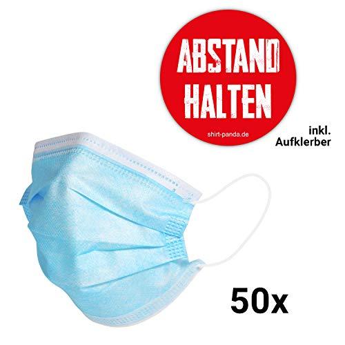 Shirt-Panda Aufkleber und Mundschutz · Einweg · 3-lagig elastische Ohrschlaufen Atemschutzmaske Staubschutz Maske dreilagig Gesichtsmaske für Erwachsene und Kinder (50 Stück)