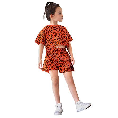 Moneycom❤Toddler Kids Baby Girls Outfits Vêtements T-Shirt léopard Tops + Shorts 2PCS Set Orange(6-7 Ans)