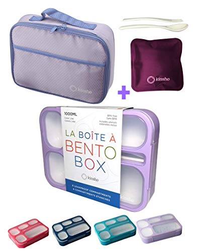 Bento-Box with Bag and Ice Pack Set. Lunch Boxes Snack Containers...