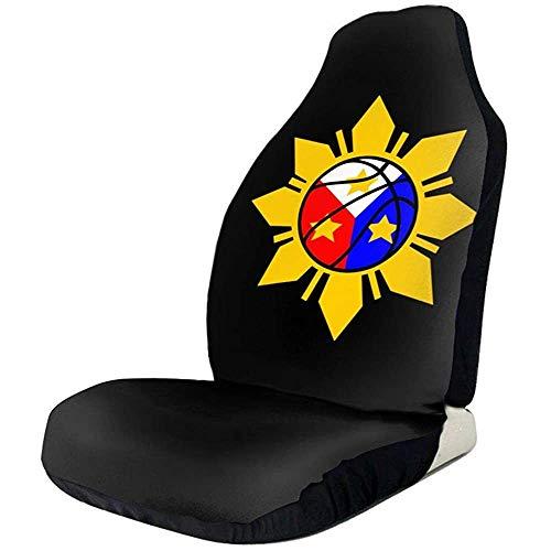 Philippinische Basketball Philippinische Flagge Autositzbezüge 2 Stück Passend für die meisten Autos SUV Truck Van Sedan Etc.