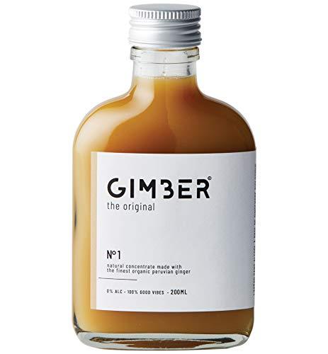 GIMBER Biologisches Ingwerkonzentrat 200 ml | Alkoholfreies Bio-Getränk aus Ingwer, Zitrone und Kräutern | Premium Ingwer Essenz