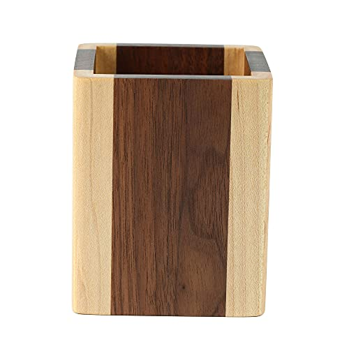 ペン立て 木製 ペンスタンド 筆立て 卓上 文具収納 箸立て 天然木 (メープル・ウォールナット)