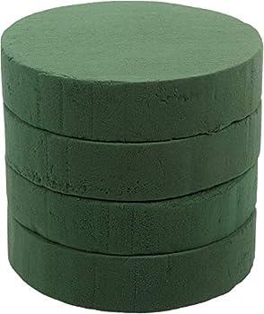 Crafare7.5 Inch 4pcs Round Floral Foam Bricks Green Styrofoam Blocks Wet for Flower Arrangements Wedding Decorations