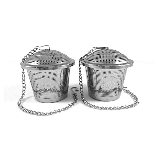 "BoldDrop Extra Fine Loose Leaf Tea Infuser/Stainless Steel Filter with Extended 7"" Chain (Pack of 2)"