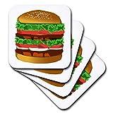 3dRose Print of Super Deluxe Hamburger Cartoon - Soft Coasters, Set of 8 (CST_204183_2)