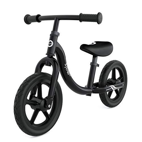 XJD Laufrad Lauflernrad ab 18 Monate Höhenverstellbare Sattel und Lenker Erste Fahrrad Max.30 KG Spielzeug für Kinder 18 Monate -5 Jahre (Schwarz)