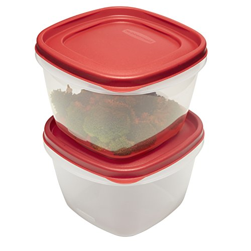 Rubbermaid Easy Find Lids Food Storage Containers, 7 Cup, Racer Red, 4-Piece Set