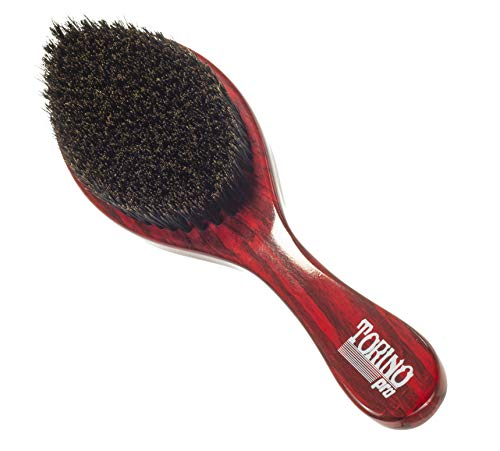 Torino Pro Wave Brush #11- Medium Soft Curve Wave Hair brush for men - Made with 100% boar bristles - Great for fresh cuts and thinning hair - For 360 waves- Great to use before using your durag