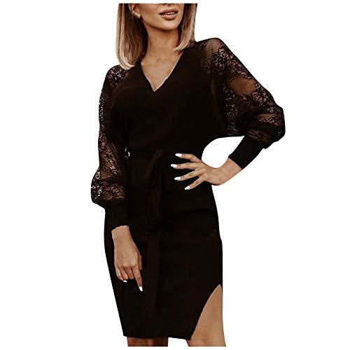 Generic Damen Kleid Tiefe V-Ausschnitt Minikleider Spitzennaht Langarm Shirtkleid Mit Binde Strickkleid einfarbiger Babydoll Brautkleid