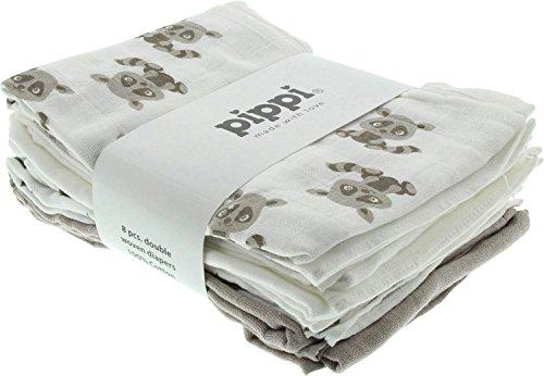 Pippi Diapers AO-Printed (8 stuks) sjaal, beige (wit zand), eenheidsmaat
