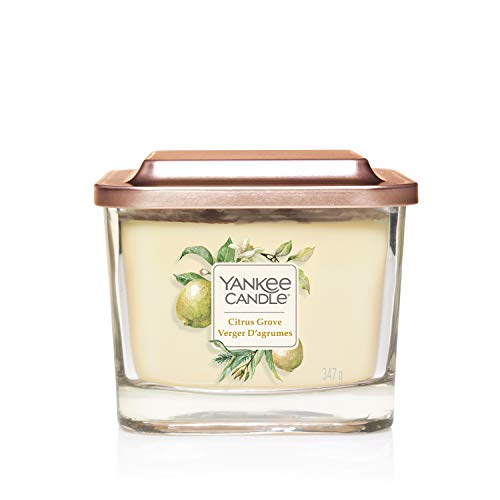 Yankee Candle Elevation Collection con Coperchio della Piattaforma Candela Quadrata a 3 Stoppini, Agrumeto, Medio