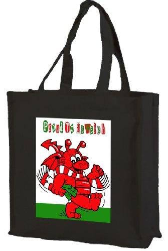 Jung Einkaufstasche Aus Baumwolle Mit Walisischem Drachen, Schwarz