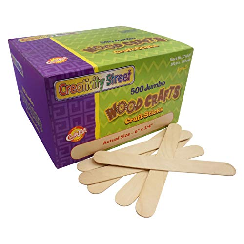 Chenille Kraft Natural Wood Craft Sticks, Jumbo Size, 6 x 3/4, Wood, Natural Wood, 500/Box (3776-01)