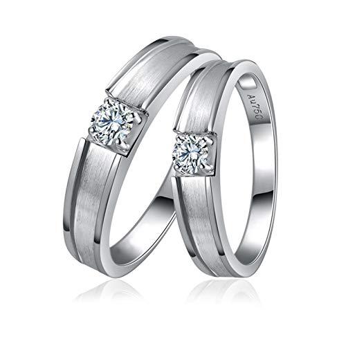 Daesar 18K White Gold Engagement Ring Set for Women and Men Couple Promise Rings Simple Brushed Four Claws 0.25ct Diamond Rings for Women and Men White Gold Ring Women Size N 1/2 & Men Size T 1/2