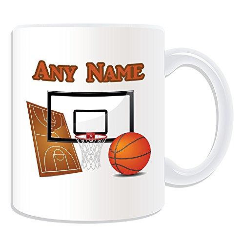De regalo con mensaje personalizado - taza de desayuno con diseño de pelota de baloncesto (diseño de Sport, blanco) - nombre personalizable para/de mensaje tu taza diseño de - canasta de NBA canastazos