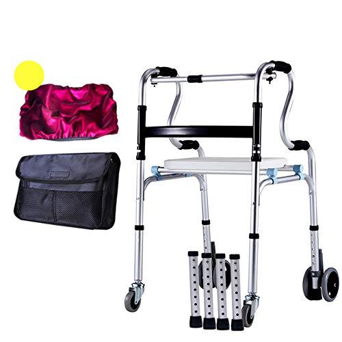 ZLGP Uso Dual Andador-4 Ruedas Ancianos Caminadores,Plegable Walking Frame Caminar con Silla De Baño Y Frenos Robusto Rodillo De Aluminio Adecuado para La Gente Debilidad De La Mano