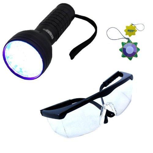 HQRP Professionnelle 76 LED UV 390 nM Lampe de Torche Ultra Violet pour Inspection, Identification avec Lunettes de Protection UV mètre du Soleil