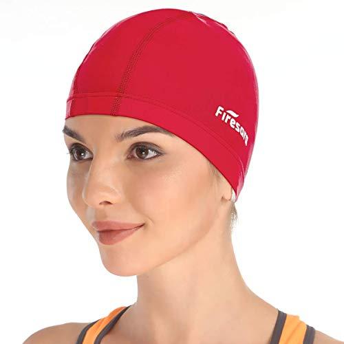 Firesara Lycra Gorra de Baño Gorra de natación Anti-Tear Cómodo Sin Deslizamiento para Los Hombres Mujer Largo Cabello Corto Adulto Muchachos Chicas