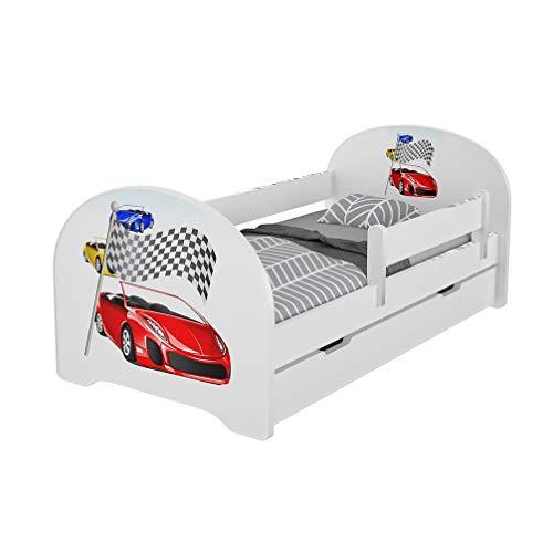 Jugendbett Kinderbett mit Rausfallschutz Matratze Schubladen und Lattenrost Kinderbetten für Mädchen und Junge 140x70cm oder 160x80cmKinder Bett mit eingebautem Kopfteil (160x80cm, Racing Cars)