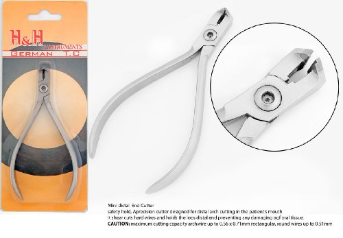 German T.C Mini Head Distal End Cutter With Safety Hold,Cut & Hold Hard and Soft Wire Orthodontic Instruments