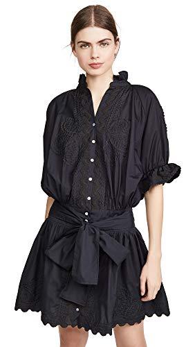 Juliet Dunn Women's Poplin Blouson Dress, Black, 1