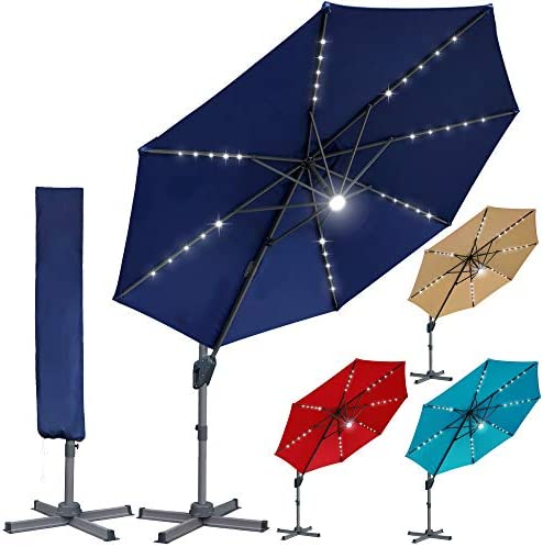 Blissun 10ft Offset Umbrella with 36 Solar LED Lights Hanging Lighted Patio Umbrella Outdoor product image