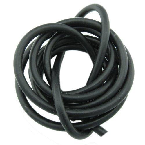 Bacabella 15064 Kautschukband 1m schwarz 4mm gefüllt rund aus Gummi (Meterware bis 5m in einem Stück)