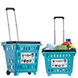 Gocart, Teal Grocery Shopping Basket Rolling Laundry Cart