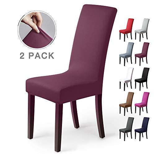 Stuhlhussen 2 Stück, Stretch-Stuhlbezug elastische moderne Husse Elasthan Stretchhusse Stuhlbezug Stuhlüberzug. bi-elastic Spannbezug,sehr pflegeleicht und langlebig Universal (Packung von 2,Bordeaux)