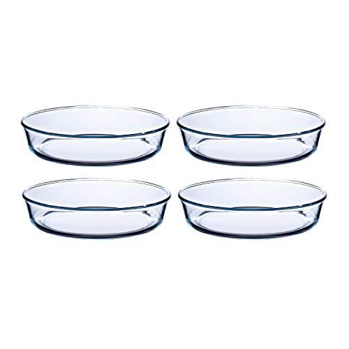 Pyrex Prep & Bake Round Glass Cake Dishes - Set of 4 - High Heat Resistance Borosilicate Glass - 5.8 x 26.2 cm, 2.1 litres
