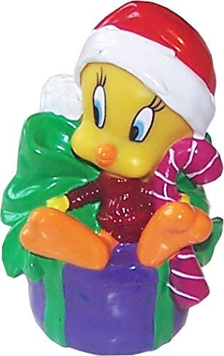 Looney Tunes Tweety Kunststoff Figur, Motiv Tweety mit Weihnachtsmütze sitzend auf Einem Geschenk
