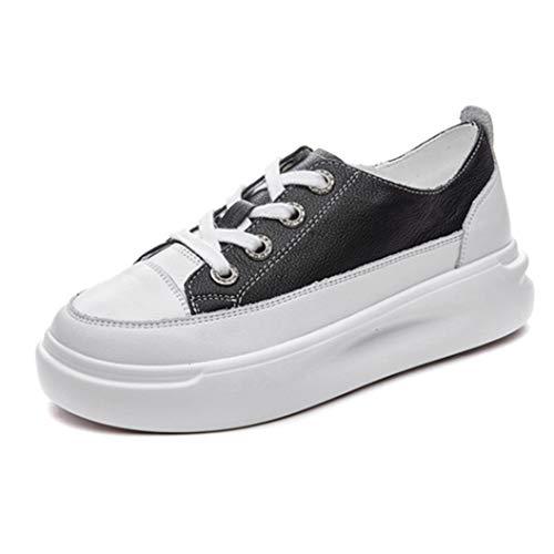 Zapatos de Plataforma para Mujer Zapatillas de Deporte Transpirables con Cordones Que Aumentan la Altura de Las Zapatillas Bajas con Cordones Zapatillas cómodas para Caminar Antideslizantes
