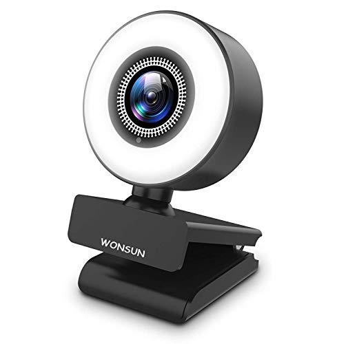 Webcam 2K Full HD mit Mikrofon und Ringlicht Web Cam für PC, Laptop,Mac, USB Webcam Streaming Kamera mit Autofokus und Weitwinkel für YouTube, Skype Videoanrufe, Lernen, Videokonferenz, Spielen