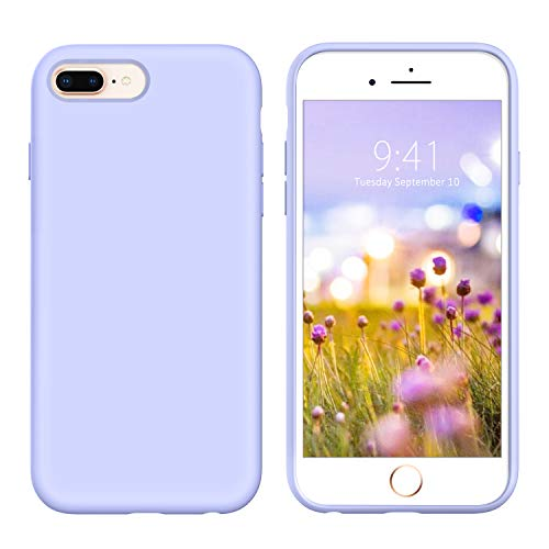 GUAGUA iPhone 8 Plus Case iPhone 7 Plus Case Liquid Silicone Slim Thin Soft Gel Rubber Microfiber Lining Cushion Texture Cover Shockproof Protective Case for iPhone 8 Plus/7 Plus Lilac Purple