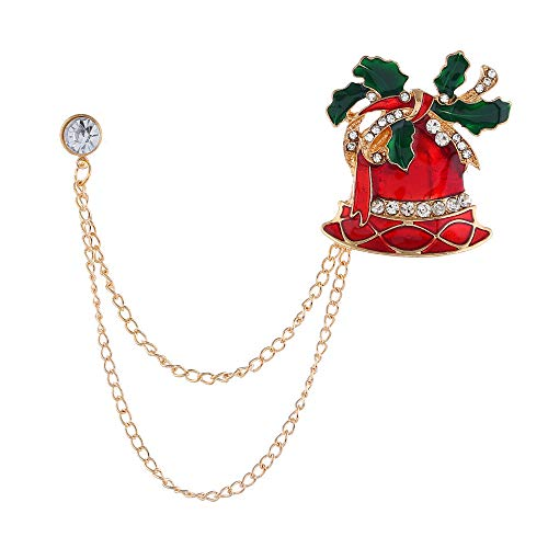 DishyKooker Weihnachts-Brosche mit Glöckchen, Socken, Diamant-Kette, modisch, kreatives Geschenk Gr. Einheitsgröße, Glocke