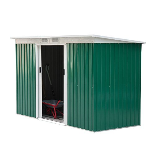 Outsunny 9' x 4' Outdoor Rust-Resistant Metal Garden Vented Storage Shed with Spacious Layout & Durable Construction