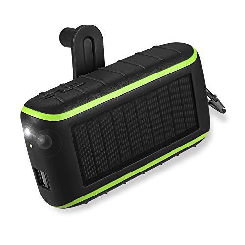Workingda Powerbank Solar Ladegerät, 10000mAh Externer Akku Kurbel Generator mit Dual USB Ausgängen und Taschenlampe für Handys, iPad, Kamera(schwarz)